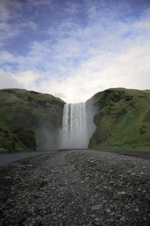 skogafoss waterfall: The powerfull Skogafoss waterfall Southern Iceland