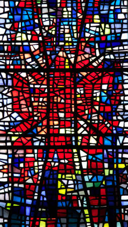 church window: Colourful stained glass church window Skalholt Iceland