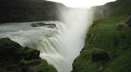 powerfull: The powerfull Gulfoss waterfall taken using slow shutter Iceland