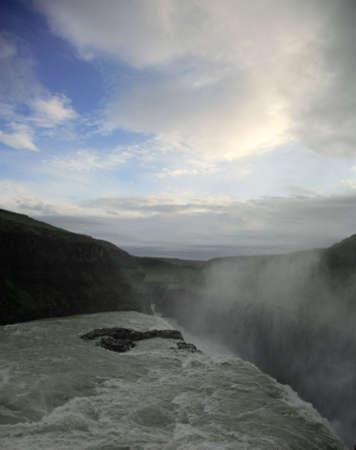 Gulfoss waterfall and blue sky Iceland photo
