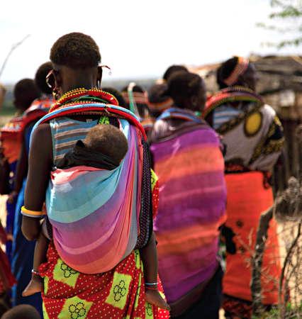 The women and children of the Samburu tribe Kenya Stock Photo