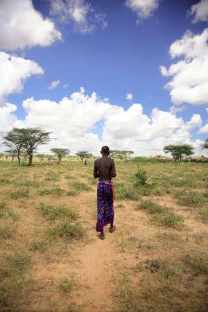 safari game drive: Capo tradizionale della trib� Kenia di Samburu Archivio Fotografico
