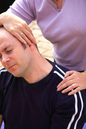 as: Stretch to the letf side of the neck as part of a Thai body massage