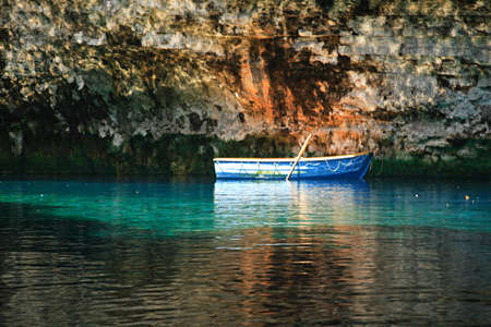 Rowing boat Melissani Cave Kefalonia Greece