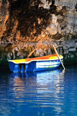 kefallinia: Blue Rowing boat Melissani Cave Kefalonia Greece