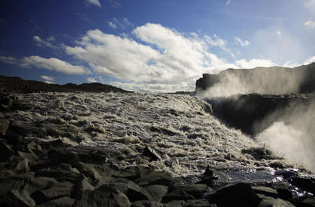 Dettifoss riverbed and waterfall Iceland photo