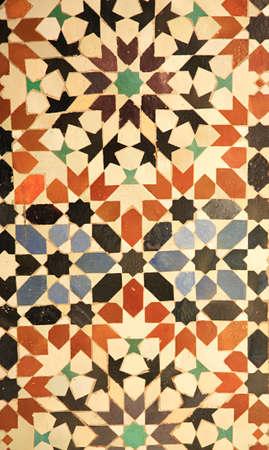 afrique du nord: Tuiles royales de palais qui ont orn� les murs Marrakech, nord Afrique du Maroc
