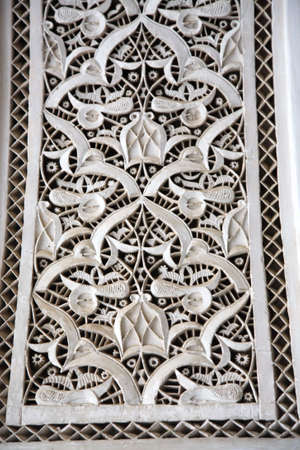 Close up of decorative palace wall Morocco North Africa photo