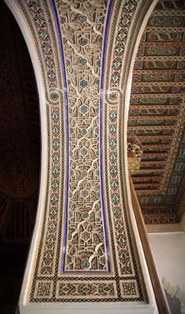 Decorative palace wall and ceiling Morocco North Africa photo