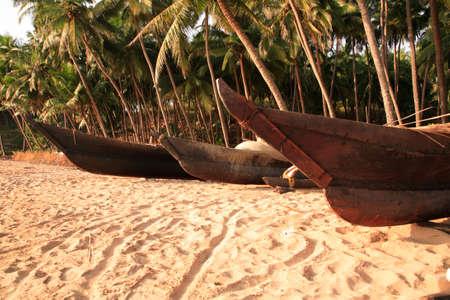 rigger: Outriggers on cola beach Goa India