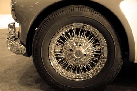 spoked: Classic car wheel Stock Photo