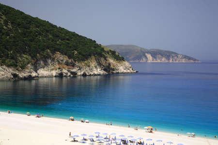 Turquoise sea at Myrtos beach Kefalonia Greece
