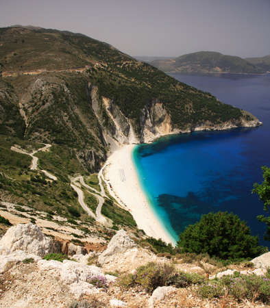 kefalonia: Road down to Myrtos beach Kefalonia Greece Stock Photo