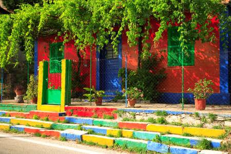 Multi coloured house on the Ionian island of Kefalonia Greece