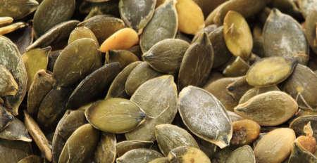 lowering: Pumpkin seeds very close up Stock Photo