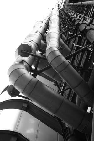 lloyds: Industrial architecture of the Lloyds of London building in the financial section of the city