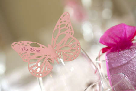 tabel: Bride place setting as a butterfly in a glass on the tabel