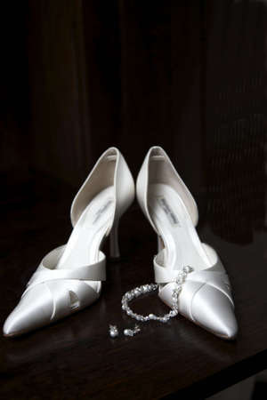 Wedding shoes waiting for the bride to get ready