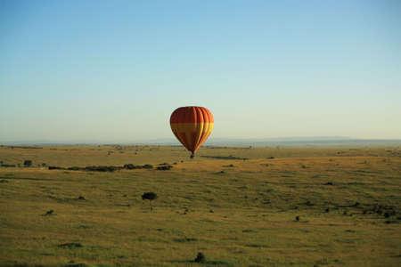African balloon safari over Masai Mara Kenya Stock Photo