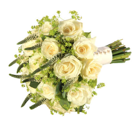bridal bouquet: Studio shot of a brides rose wedding bouquet