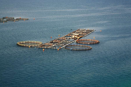 kefalonia: Fish farm in Kefalonia in Greece Stock Photo