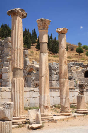 3 ancient columns at the Ephesus site in Turkey Stock Photo - 8577543