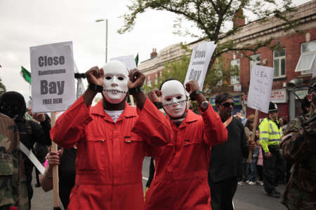 political prisoner: Street protestors protesting against Guantanamo Bay in Leeds 25 August 2008 Editorial