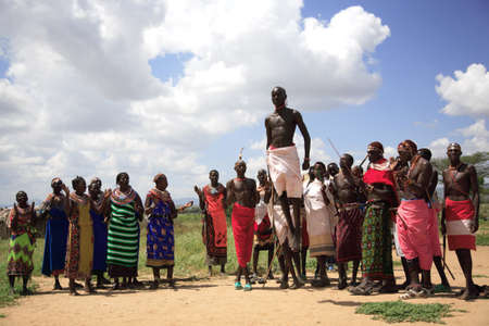 Samburu tribe performing their traditional welcome dance Samburu Kenya 20 January 2007