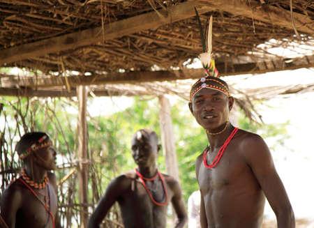 headress: Young warriors from the Samburu tribe Kenya 20 January 2007