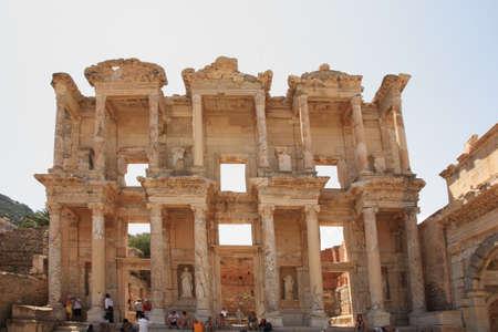 Tourists admiring Celsus Library Ephesus in Turkey 26 June 2008