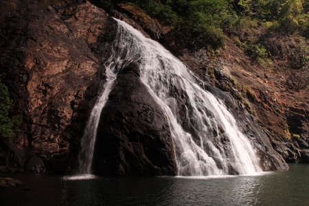 One of the lower tiers of Dudhsagar Falls Goa India Stock Photo - 8582647