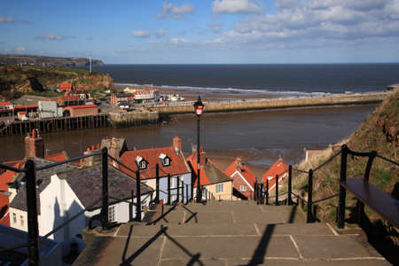 whitby: View down the steps to the harbour at Whitby