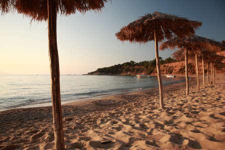 ag: Sunset at Ag Paraskevi beach, Skaithos, Greece Stock Photo