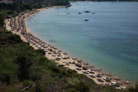skiathos: View down onto Koukounaries beach, Skiathios, Greece