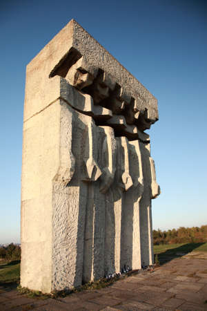jews: Monument at the former Plaszow concentration camp, Krakow, Poland