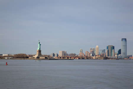 hudson river: View of Statue of Liberty and Manhattan, New York