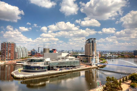 Panoramic view of Manchester at Salford Qauys Editorial