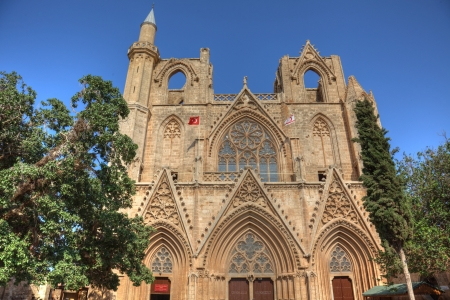 nicolas: Lala Mustafa Pasha Mosque (Saint Nicolas Cathedral) (1298-1400), Famagusta, North Cyprus Stock Photo