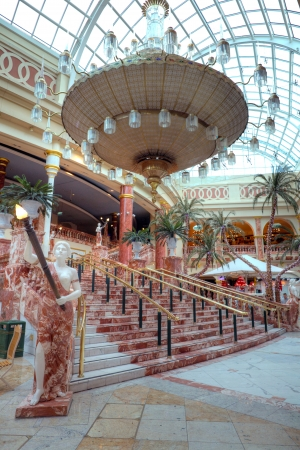 Marble staircase at the Orient entrance of the Trafford Centre the largest shopping centre in the United Kingdom by retail size  Manchester November 4, 2012