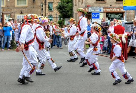 Morris Dancers at the Rushcart Ceremony on the 20th of August, 2011 in Saddleworth, UK  Editorial