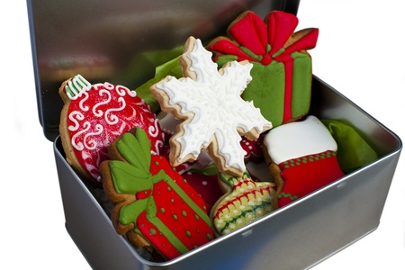 Iced Christmas cookies in a tin box. photo