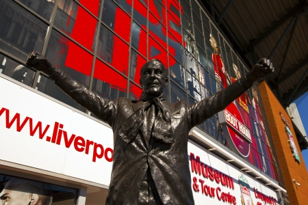 premiership: Statue of Bill Shankey at the Liverpool Football Club  Editorial
