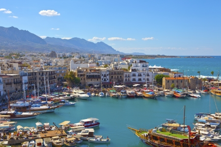 Scenic view of historic harbor and the old town in Kyrenia  Girne  on the Island of Cyprus, October 6, 2013