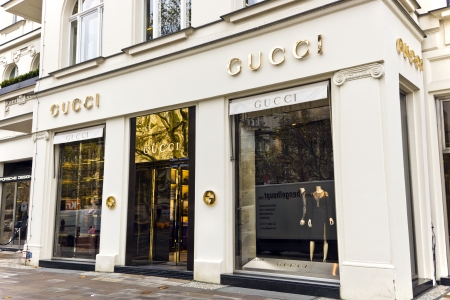 The fashion company Gucci is the biggest-selling Italian brand in the world  Gucci s elegant store in the central of Berlin  November 8, 2013 in Berlin, Germany