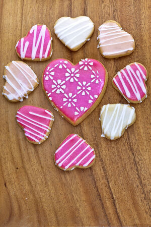 Iced heart shaped cookies  photo