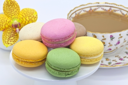Macaroon biscuits at tea time  photo