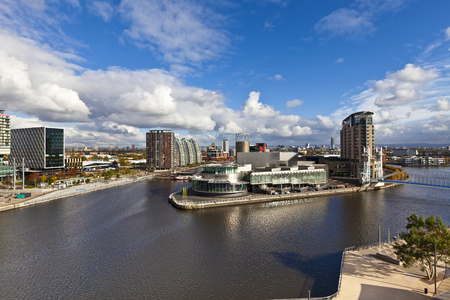 Cityscape at Salford Quays in Manchester, England  Editoriali