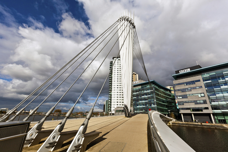 lowry: The Media City Footbridge is a swing-mechanism asymmetric cable-stayed bridge over the Manchester Ship Canal near MediaCityUK