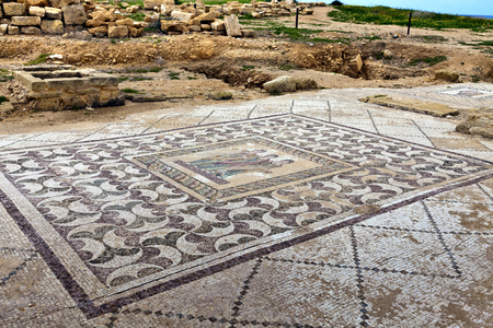 Ancient mosaics at the Archaeological Helenistic and Roman site at Kato Paphos in Cyprus