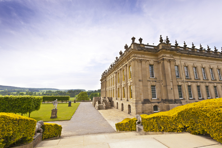 chatsworth: CHATSWORTH, UK - JUNE 19, 2013  Chatsworth House  in the Peak District, England , home of the Duke and Duchess of Devonshire  Cavendish family  is the Country s most visited stately home